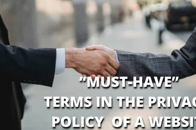 """""""MUST-HAVE"""" TERMS IN THE PRIVACY  POLICY  OF A WEBSITE"""